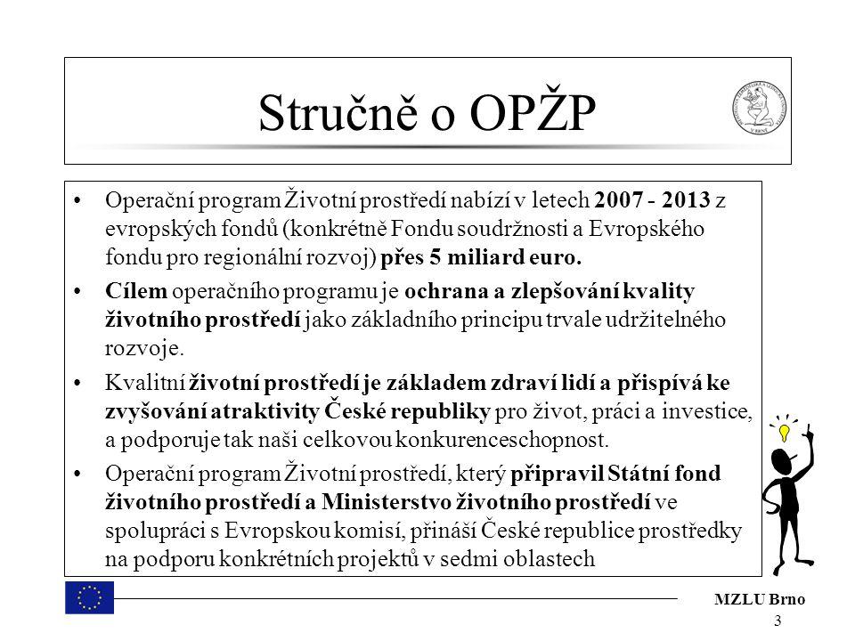 MZLU Brno Stručně o OPŽP – jednotlivé osy Prioritní osa 1 - Zlepšování vodohospodářské infrastruktury a snižování rizika povodní Podporuje projekty, které směřují ke zlepšení stavu povrchových a podzemních vod, zlepšení jakosti a dodávek pitné vody a snižování rizika povodní.