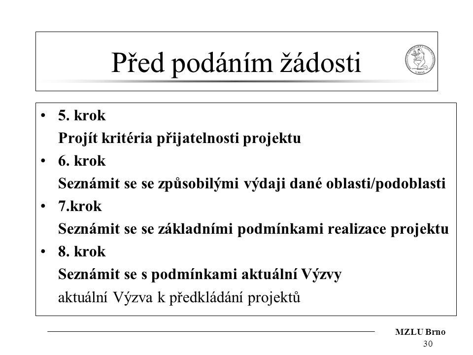 MZLU Brno Před podáním žádosti 5.krok Projít kritéria přijatelnosti projektu 6.