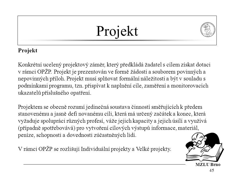 MZLU Brno Projekt 45 Projekt Konkrétní ucelený projektový záměr, který předkládá žadatel s cílem získat dotaci v rámci OPŽP.