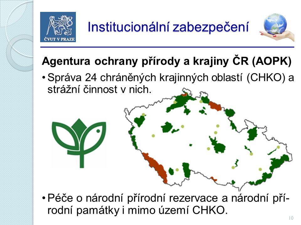 10 Institucionální zabezpečení Institucionální zabezpečení Agentura ochrany přírody a krajiny ČR (AOPK) Správa 24 chráněných krajinných oblastí (CHKO) a strážní činnost v nich.