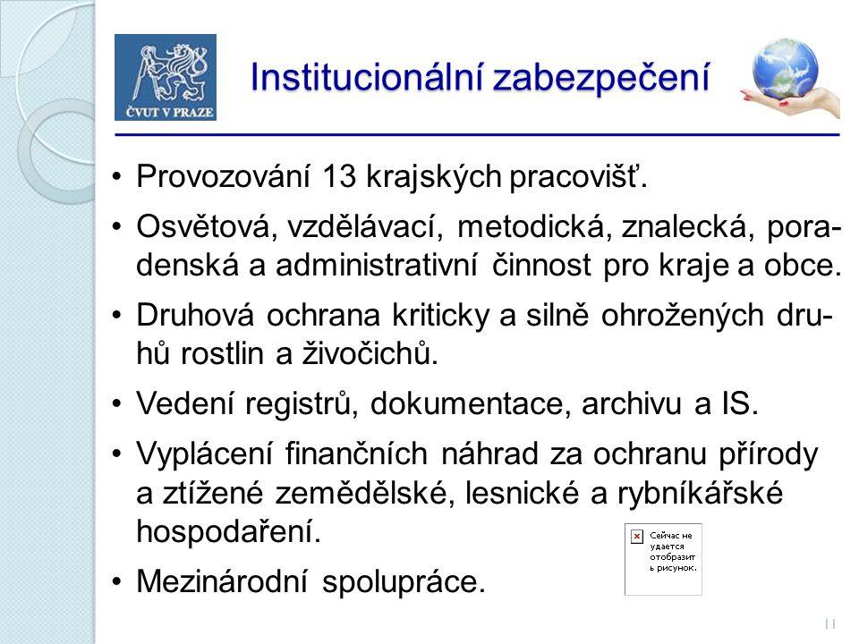 11 Institucionální zabezpečení Institucionální zabezpečení Provozování 13 krajských pracovišť.