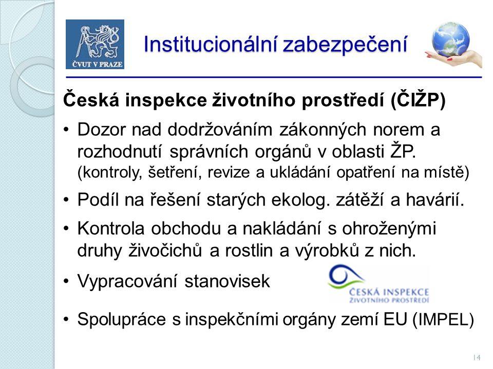 14 Institucionální zabezpečení Institucionální zabezpečení Česká inspekce životního prostředí (ČIŽP) Dozor nad dodržováním zákonných norem a rozhodnutí správních orgánů v oblasti ŽP.