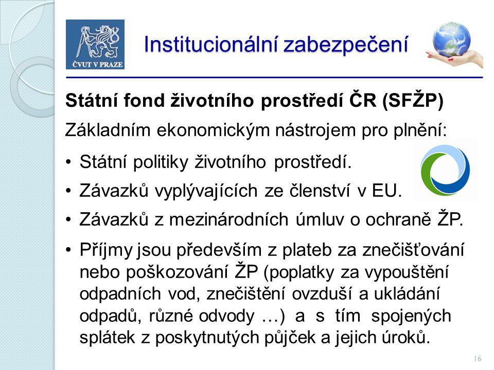 16 Institucionální zabezpečení Institucionální zabezpečení Státní fond životního prostředí ČR (SFŽP) Základním ekonomickým nástrojem pro plnění: Státní politiky životního prostředí.
