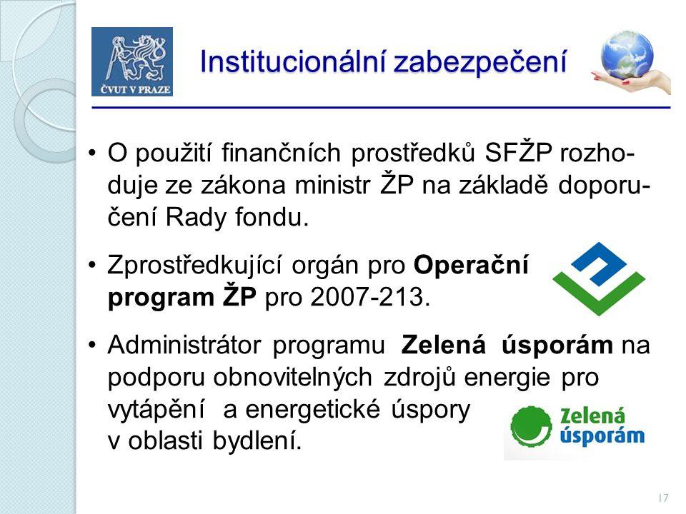 17 Institucionální zabezpečení Institucionální zabezpečení O použití finančních prostředků SFŽP rozho- duje ze zákona ministr ŽP na základě doporu- čení Rady fondu.