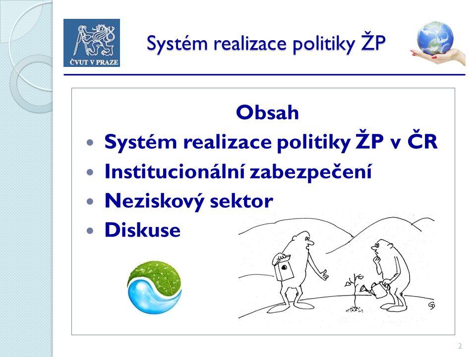 2 Systém realizace politiky ŽP Systém realizace politiky ŽP Obsah Systém realizace politiky ŽP v ČR Institucionální zabezpečení Neziskový sektor Diskuse