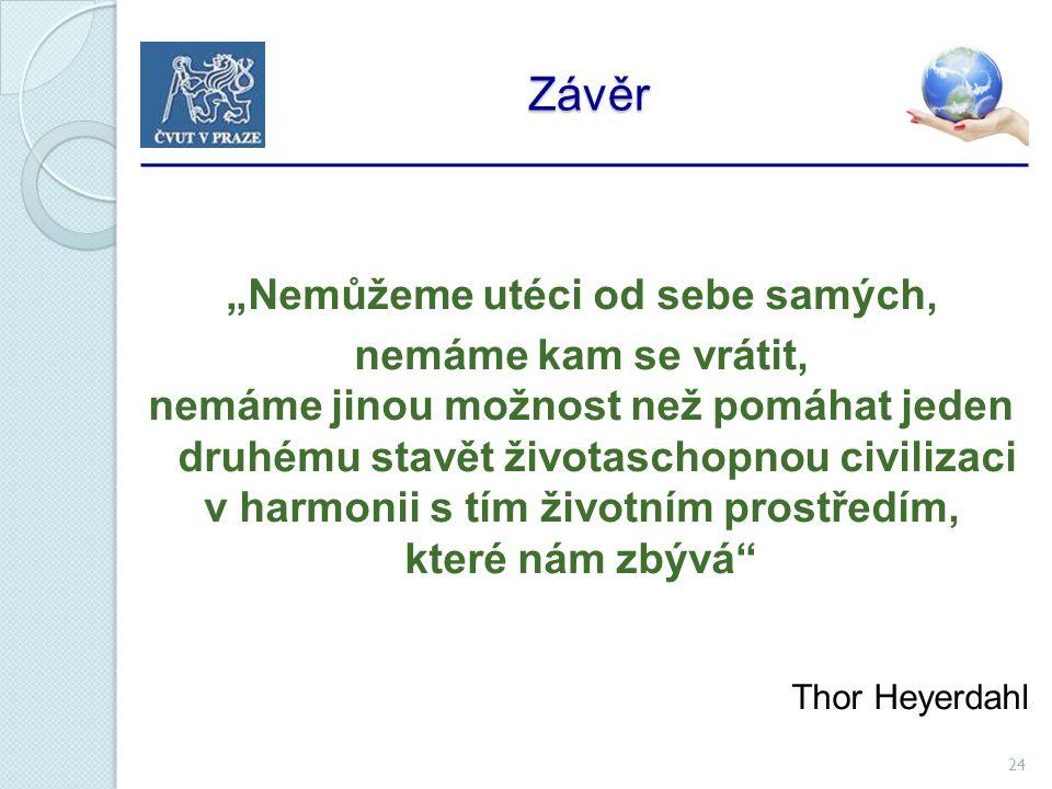 """24 Závěr Závěr """"Nemůžeme utéci od sebe samých, nemáme kam se vrátit, nemáme jinou možnost než pomáhat jeden druhému stavět životaschopnou civilizaci v harmonii s tím životním prostředím, které nám zbývá Thor Heyerdahl"""