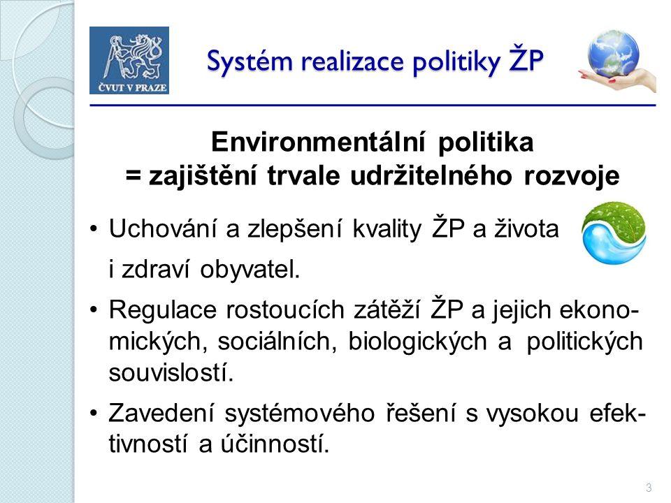 3 Systém realizace politiky ŽP Systém realizace politiky ŽP Environmentální politika = zajištění trvale udržitelného rozvoje Uchování a zlepšení kvality ŽP a života i zdraví obyvatel.