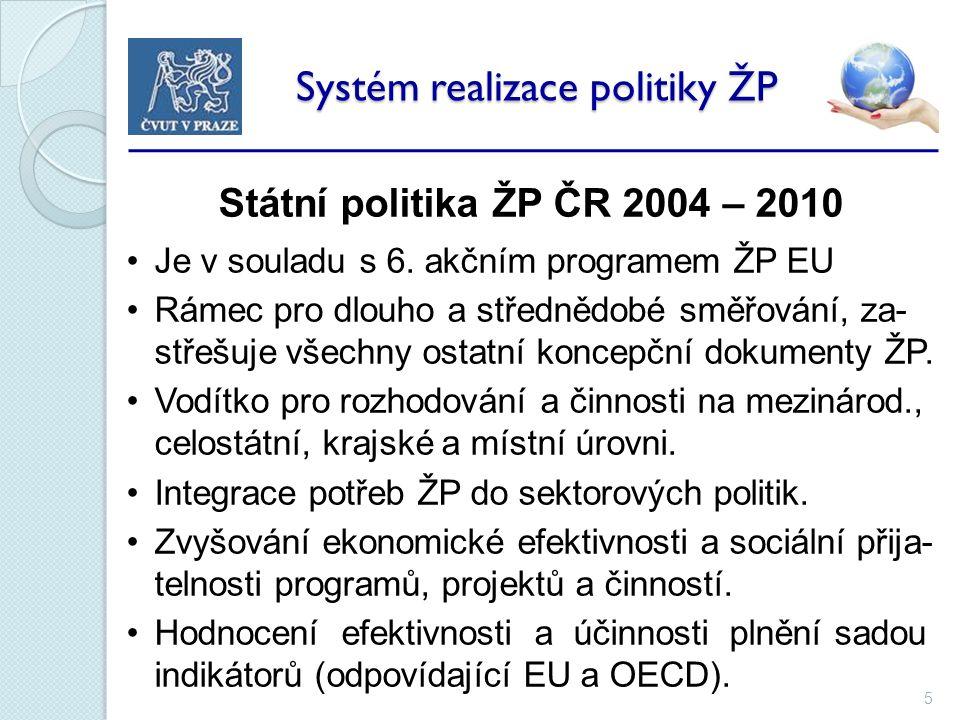 5 Systém realizace politiky ŽP Systém realizace politiky ŽP Státní politika ŽP ČR 2004 – 2010 Je v souladu s 6.