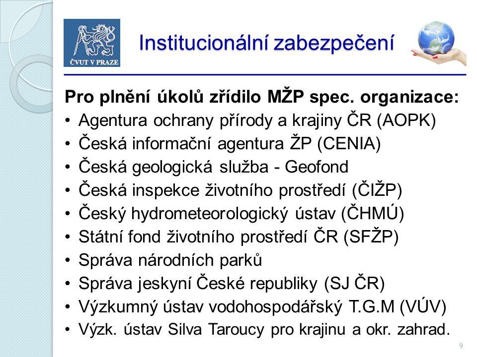 9 Institucionální zabezpečení Institucionální zabezpečení Pro plnění úkolů zřídilo MŽP spec.