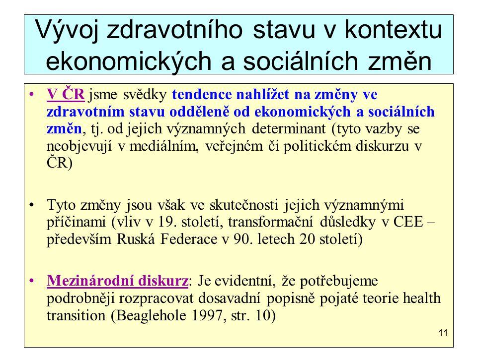 Vývoj zdravotního stavu v kontextu ekonomických a sociálních změn V ČR jsme svědky tendence nahlížet na změny ve zdravotním stavu odděleně od ekonomic
