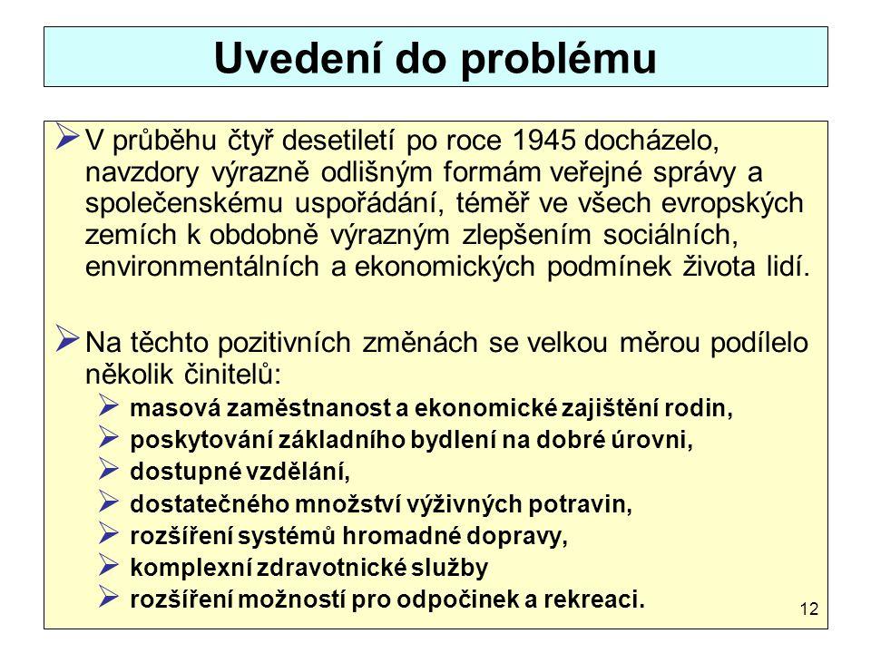 Uvedení do problému  V průběhu čtyř desetiletí po roce 1945 docházelo, navzdory výrazně odlišným formám veřejné správy a společenskému uspořádání, té