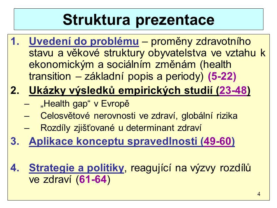 Struktura prezentace 1.Uvedení do problému – proměny zdravotního stavu a věkové struktury obyvatelstva ve vztahu k ekonomickým a sociálním změnám (hea