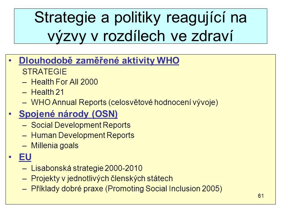 Strategie a politiky reagující na výzvy v rozdílech ve zdraví Dlouhodobě zaměřené aktivity WHO STRATEGIE –Health For All 2000 –Health 21 –WHO Annual R