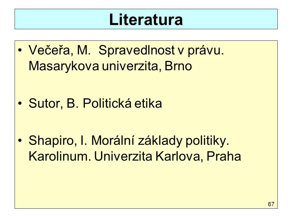 Literatura Večeřa, M. Spravedlnost v právu. Masarykova univerzita, Brno Sutor, B. Politická etika Shapiro, I. Morální základy politiky. Karolinum. Uni