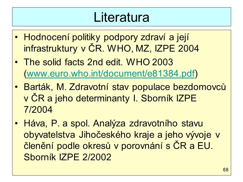 Literatura Hodnocení politiky podpory zdraví a její infrastruktury v ČR. WHO, MZ, IZPE 2004 The solid facts 2nd edit. WHO 2003 (www.euro.who.int/docum