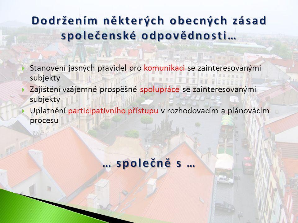  Stanovení jasných pravidel pro komunikaci se zainteresovanými subjekty  Zajištění vzájemně prospěšné spolupráce se zainteresovanými subjekty  Uplatnění participativního přístupu v rozhodovacím a plánovácím procesu