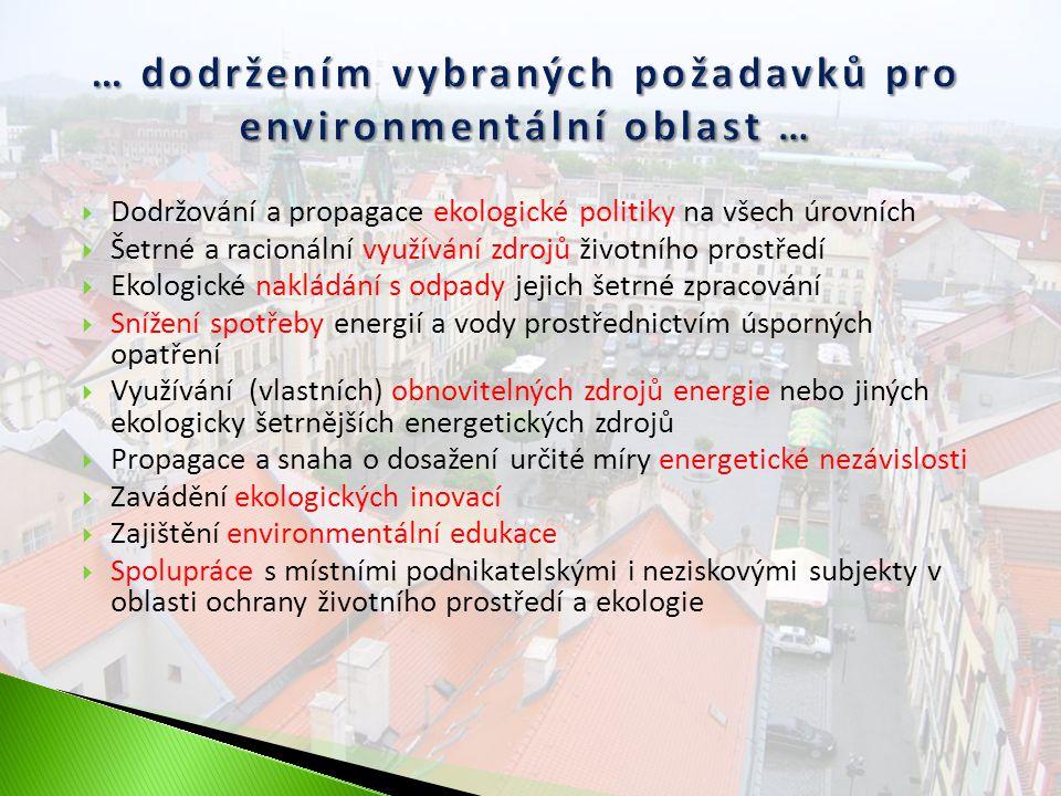  Dodržování a propagace ekologické politiky na všech úrovních  Šetrné a racionální využívání zdrojů životního prostředí  Ekologické nakládání s odpady jejich šetrné zpracování  Snížení spotřeby energií a vody prostřednictvím úsporných opatření  Využívání (vlastních) obnovitelných zdrojů energie nebo jiných ekologicky šetrnějších energetických zdrojů  Propagace a snaha o dosažení určité míry energetické nezávislosti  Zavádění ekologických inovací  Zajištění environmentální edukace  Spolupráce s místními podnikatelskými i neziskovými subjekty v oblasti ochrany životního prostředí a ekologie
