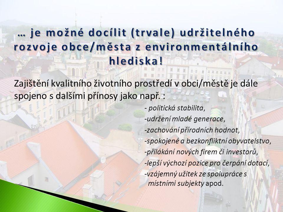 Indikátory společenské odpovědnosti pro environmentální oblast Ekologická stopaUkazatel ekologické stopy Spotřeba energií a vody Separace odpadu Podpora úsporných opatření Struktura půdního fondu a území Struktura půdního fondu Míra urbanizace Orná půda Využití brownfields UdržitelnostOchrana životního prostředí Obnovitelné zdroje energie Edukace Další iniciativy