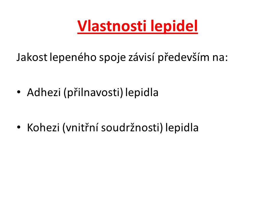 Vlastnosti lepidel Jakost lepeného spoje závisí především na: Adhezi (přilnavosti) lepidla Kohezi (vnitřní soudržnosti) lepidla