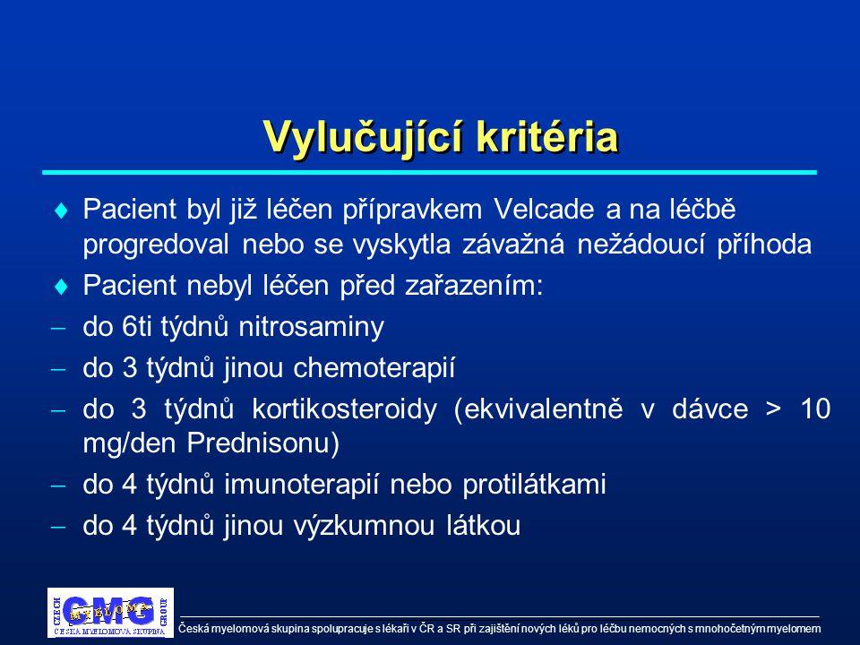 Česká myelomová skupina spolupracuje s lékaři v ČR a SR při zajištění nových léků pro léčbu nemocných s mnohočetným myelomem Vylučující kritéria  Pac