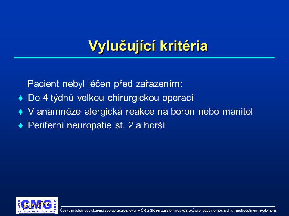 Česká myelomová skupina spolupracuje s lékaři v ČR a SR při zajištění nových léků pro léčbu nemocných s mnohočetným myelomem Vylučující kritéria Pacie