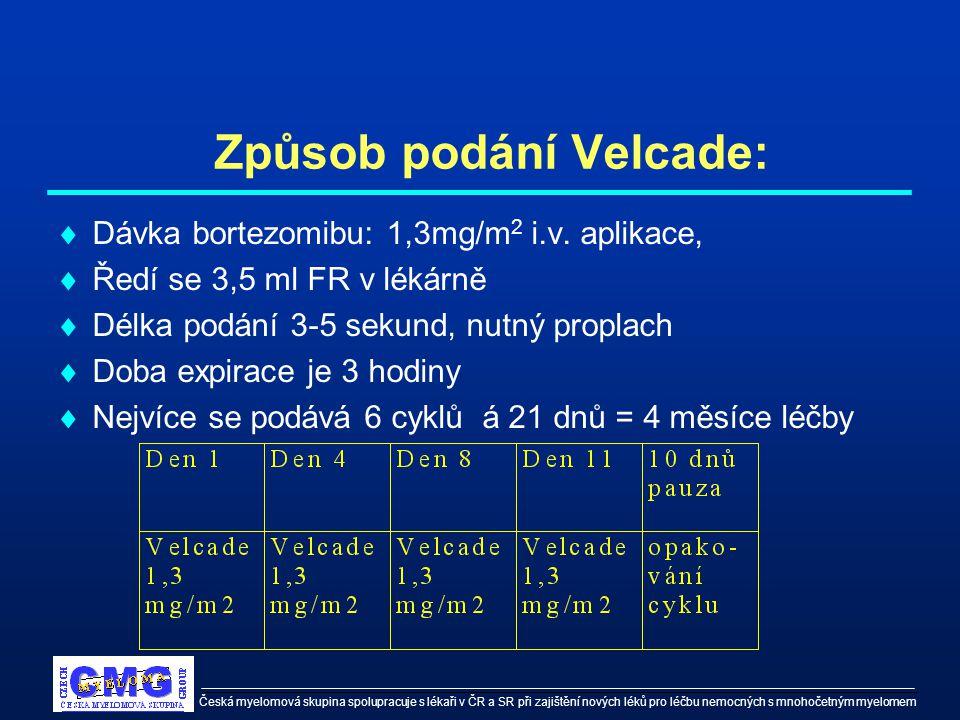 Česká myelomová skupina spolupracuje s lékaři v ČR a SR při zajištění nových léků pro léčbu nemocných s mnohočetným myelomem Způsob podání Velcade: 