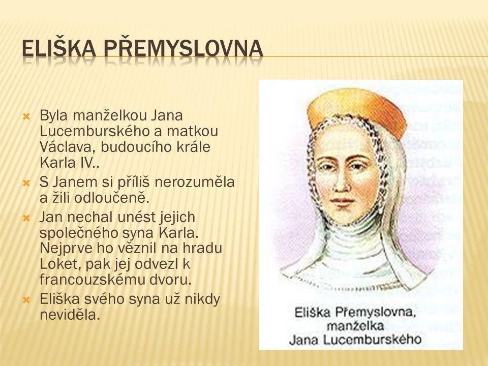  Byla manželkou Jana Lucemburského a matkou Václava, budoucího krále Karla IV..