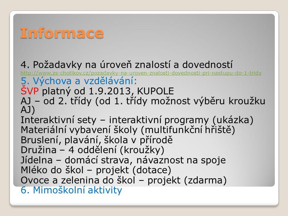 Informace 4. Požadavky na úroveň znalostí a dovedností http://www.zs-chotikov.cz/pozadavky-na-uroven-znalosti-dovednosti-pri-nastupu-do-1-tridy 5. Výc