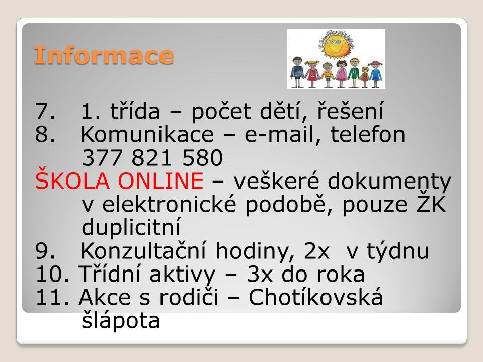 Informace 7. 1. třída – počet dětí, řešení 8. Komunikace – e-mail, telefon 377 821 580 ŠKOLA ONLINE – veškeré dokumenty v elektronické podobě, pouze Ž