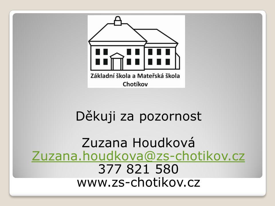 Děkuji za pozornost Zuzana Houdková Zuzana.houdkova@zs-chotikov.cz 377 821 580 www.zs-chotikov.cz