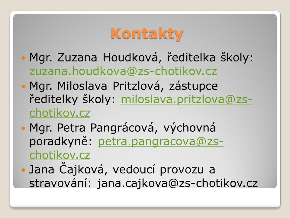 Kontakty Telefon škola: 377 821 580 Telefon školní družina: 737 488 886 Školní jídelna: 739 694 380 Webové stránky školy: www.zs- chotikov.czwww.zs- chotikov.cz
