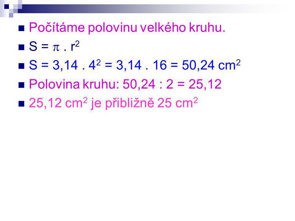 Počítáme polovinu velkého kruhu. S = . r 2 S = 3,14.