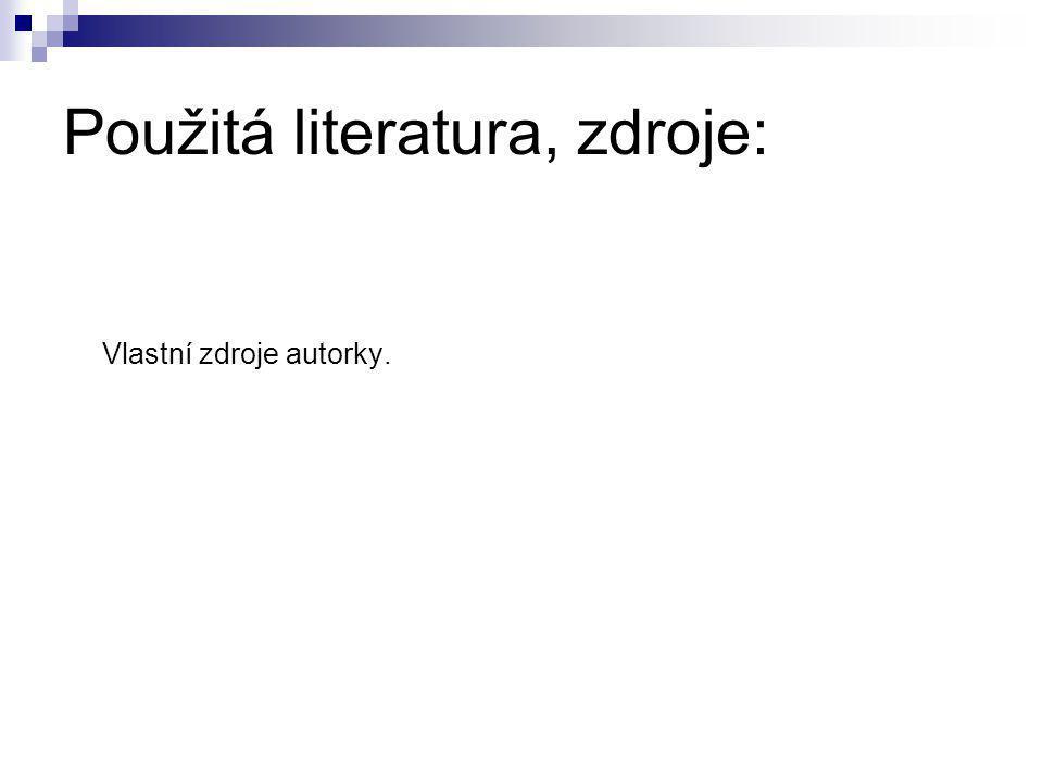 Použitá literatura, zdroje: Vlastní zdroje autorky.
