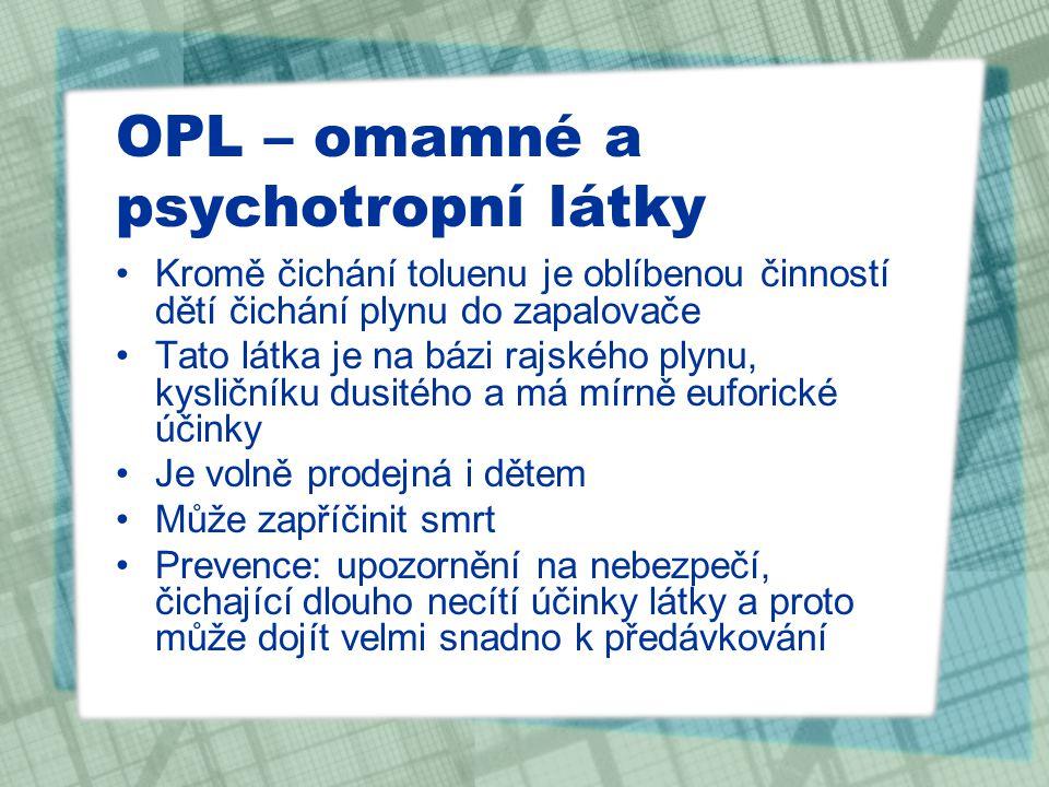 """OPL – omamné a psychotropní látky Benzodiazepiny –rohypnol, diazepam, neurol – léky na spaní, uklidnění –zneužívají se v kombinaci s alkoholem jako """"doplňková droga –působí poměrně dlouho – i 1 den –těžké odvykací stavy – hrozba epileptických záchvatů –Prevence: upozornění na zdravotní rizika (ospalost, zmatenost, narušení krátkodobé paměti, ztráta motivace, přechod placentou na plod, zatížení jater, poškození mozku…)"""