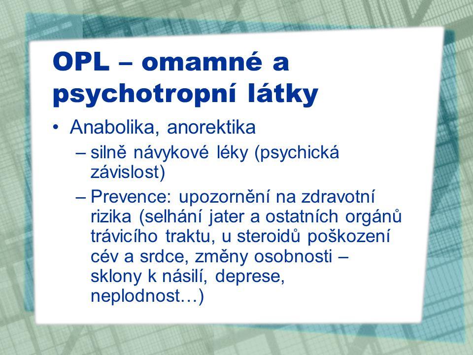 OPL – omamné a psychotropní látky Anabolika, anorektika –silně návykové léky (psychická závislost) –Prevence: upozornění na zdravotní rizika (selhání