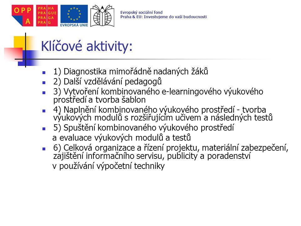 1) Diagnostika mimořádně nadaných žáků a) Orientační diagnostika: testování realizovala Křesťanská pedagogicko- psychologická poradna (KPPP) Prahy 8 orientační diagnostika proběhla v průběhu měsíce ledna až března 2010 celkem bylo otestováno 377 žáků Evropský sociální fond Praha & EU: Investujeme do vaší budoucnosti