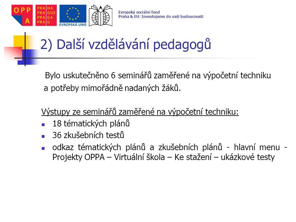 2) Další vzdělávání pedagogů Bylo uskutečněno 6 seminářů zaměřené na výpočetní techniku a potřeby mimořádně nadaných žáků. Výstupy ze seminářů zaměřen