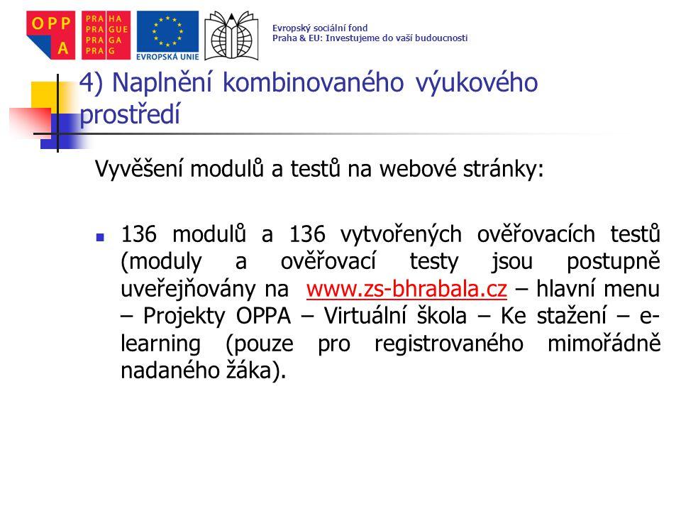 5) Spuštění kombinovaného výukového prostředí a evaluace výukových modulů a testů zapojení 18-ti mimořádně nadaných žáků do projektu žáci se zaregistrovali na webových stránkách školy pro možnost vstupu do e-learningu žáci započali samostudium prostřednictvím e-learningu na webových stránkách školy Evropský sociální fond Praha & EU: Investujeme do vaší budoucnosti