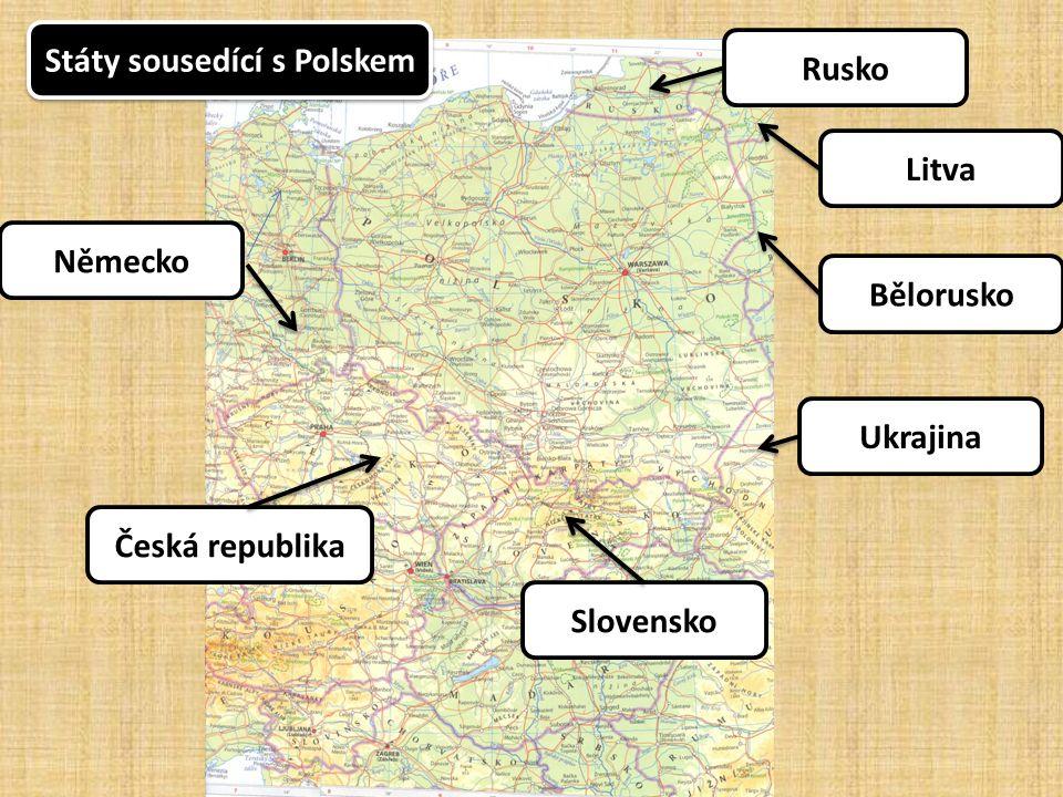 Přírodní podmínky: povrch Většinou nížiny, vysočiny na jihu Pohoří na jihu při hranici s ČR a SR Většinou nížiny, vysočiny na jihu Pohoří na jihu při hranici s ČR a SR vodstvo Odra, Visla, na severu jezera Mazurská jezerní plošina Odra, Visla, na severu jezera Mazurská jezerní plošina Mírné středoevropské Otevřené na sever - chladnější Mírné středoevropské Otevřené na sever - chladnější podnebí