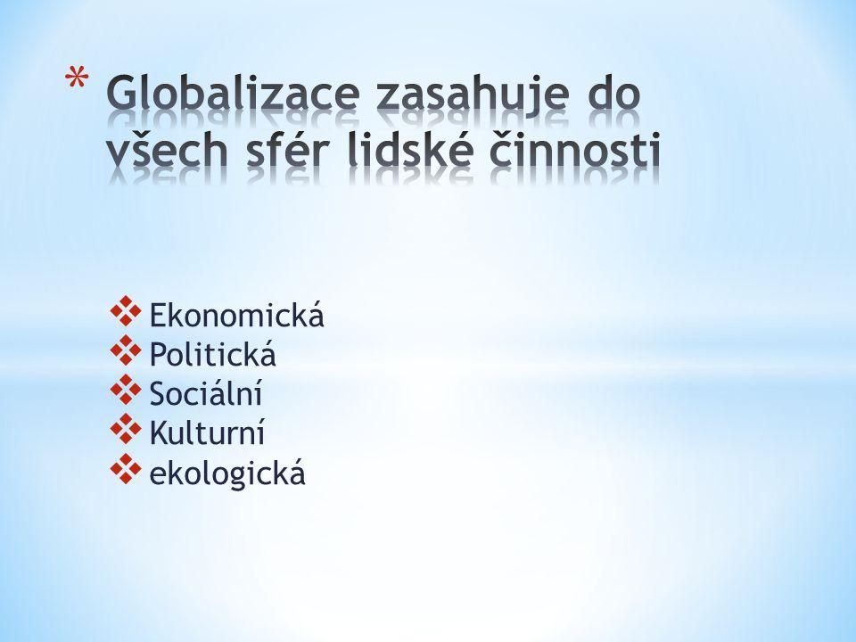  Ekonomická  Politická  Sociální  Kulturní  ekologická