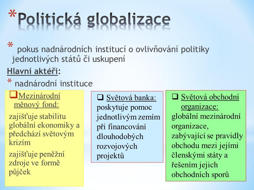 * pokus nadnárodních institucí o ovlivňování politiky jednotlivých států či uskupení Hlavní aktéři: * nadnárodní instituce  Mezinárodní měnový fond: zajišťuje stabilitu globální ekonomiky a předchází světovým krizím zajišťuje peněžní zdroje ve formě půjček  Světová banka: poskytuje pomoc jednotlivým zemím při financování dlouhodobých rozvojových projektů  Světová obchodní organizace: globální mezinárodní organizace, zabývající se pravidly obchodu mezi jejími členskými státy a řešením jejich obchodních sporů