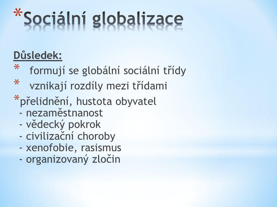 Důsledek: * formují se globální sociální třídy * vznikají rozdíly mezi třídami * přelidnění, hustota obyvatel - nezaměstnanost - vědecký pokrok - civilizační choroby - xenofobie, rasismus - organizovaný zločin