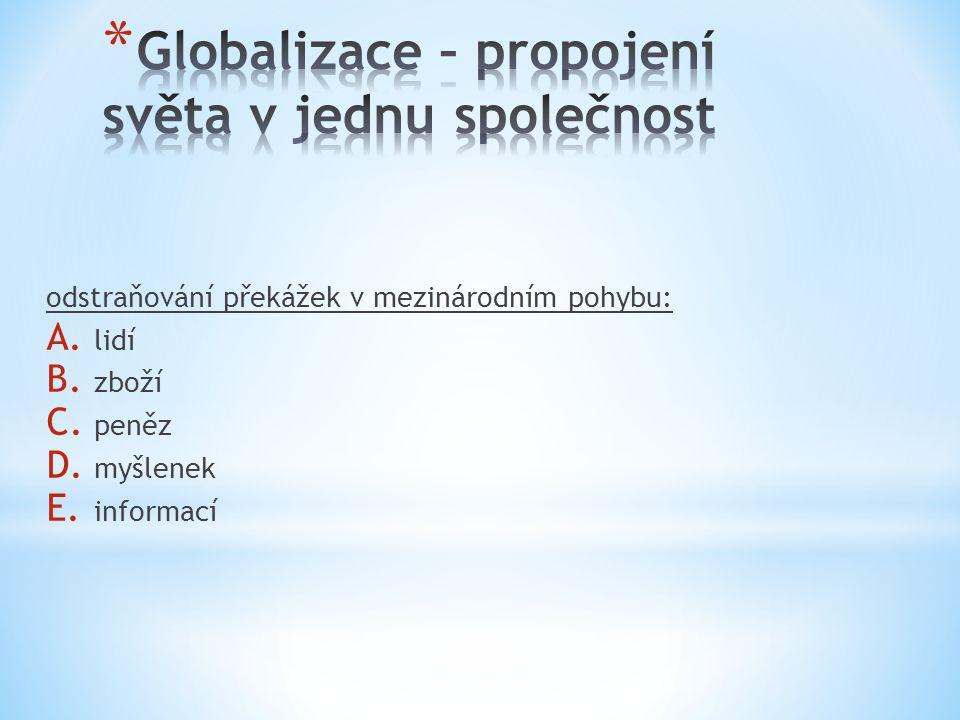 odstraňování překážek v mezinárodním pohybu: A. lidí B. zboží C. peněz D. myšlenek E. informací