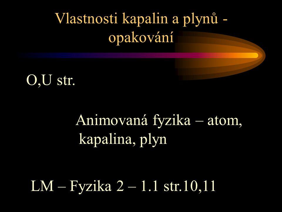Vlastnosti kapalin a plynů - opakování Animovaná fyzika – atom, kapalina, plyn O,U str. LM – Fyzika 2 – 1.1 str.10,11