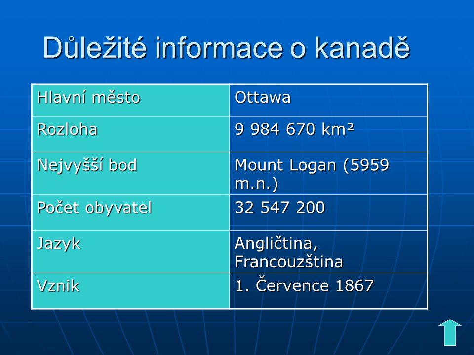 Důležité informace o kanadě Hlavní město Ottawa Rozloha 9 984 670 km² Nejvyšší bod Mount Logan (5959 m.n.) Počet obyvatel 32 547 200 Jazyk Angličtina, Francouzština Vznik 1.