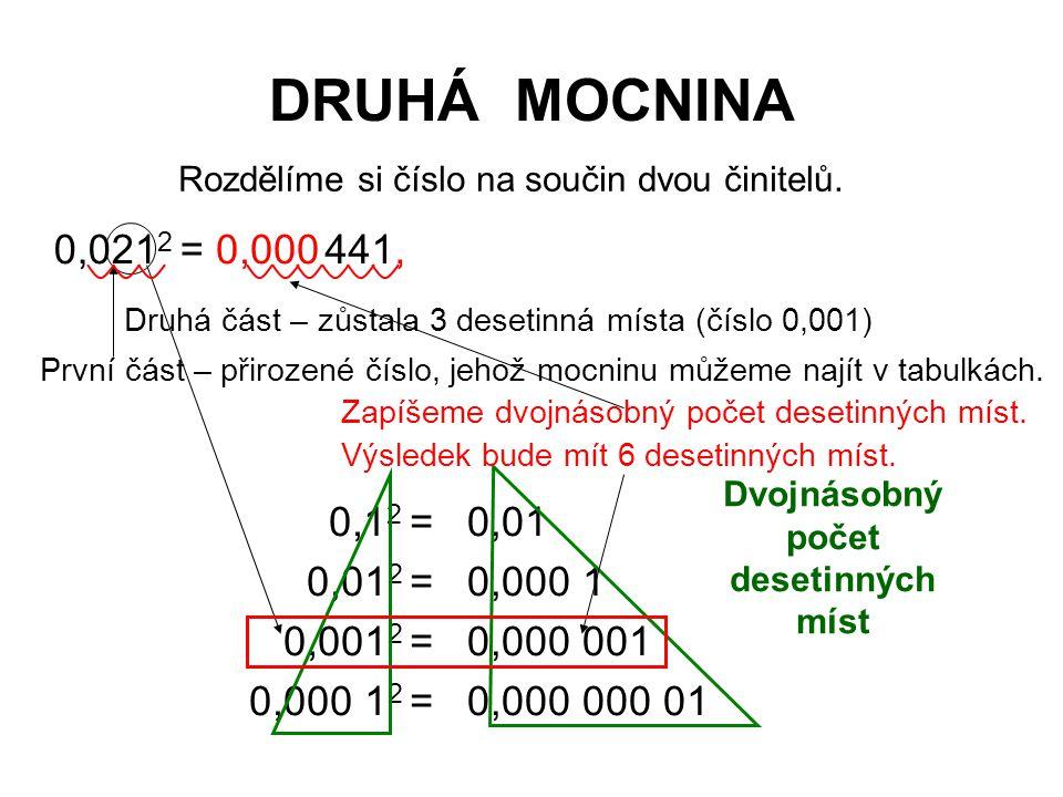 DRUHÁ MOCNINA 0,021 2 =441, 0,1 2 = 0,01 2 = 0,001 2 = 0,000 1 2 = 0,01 0,000 1 0,000 001 0,000 000 01 Dvojnásobný počet desetinných míst Rozdělíme si