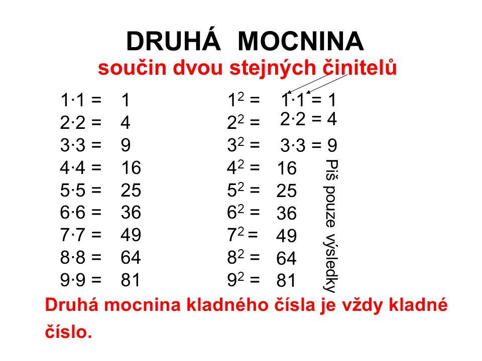 DRUHÁ MOCNINA 1·1 = 2·2 = 3·3 = 4·4 = 5·5 = 6·6 = 7·7 = 8·8 = 9·9 = 1 4 9 16 25 36 49 64 81 1 2 = 2 2 = 3 2 = 4 2 = 5 2 = 6 2 = 7 2 = 8 2 = 9 2 = 1·1