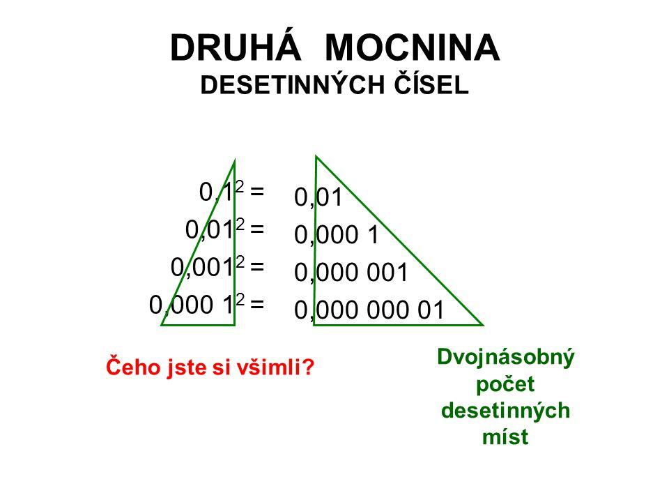 DRUHÁ MOCNINA DESETINNÝCH ČÍSEL 0,1 2 = 0,01 2 = 0,001 2 = 0,000 1 2 = 0,01 0,000 1 0,000 001 0,000 000 01 Dvojnásobný počet desetinných míst Čeho jst