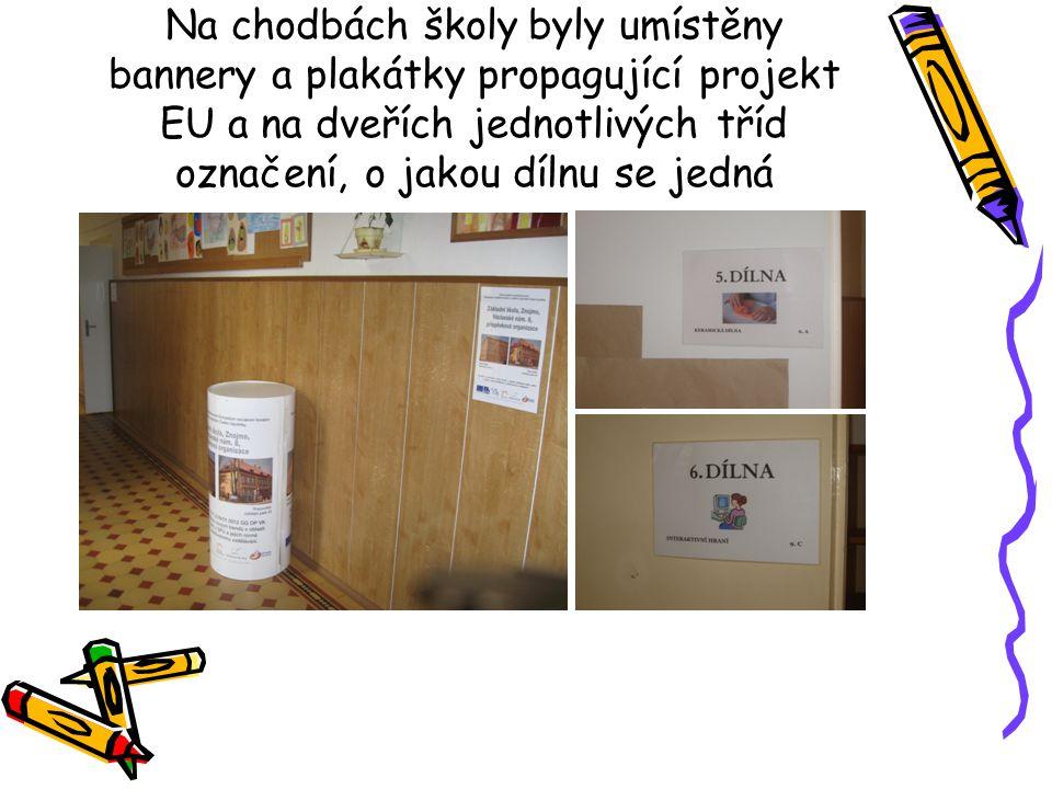 Na chodbách školy byly umístěny bannery a plakátky propagující projekt EU a na dveřích jednotlivých tříd označení, o jakou dílnu se jedná