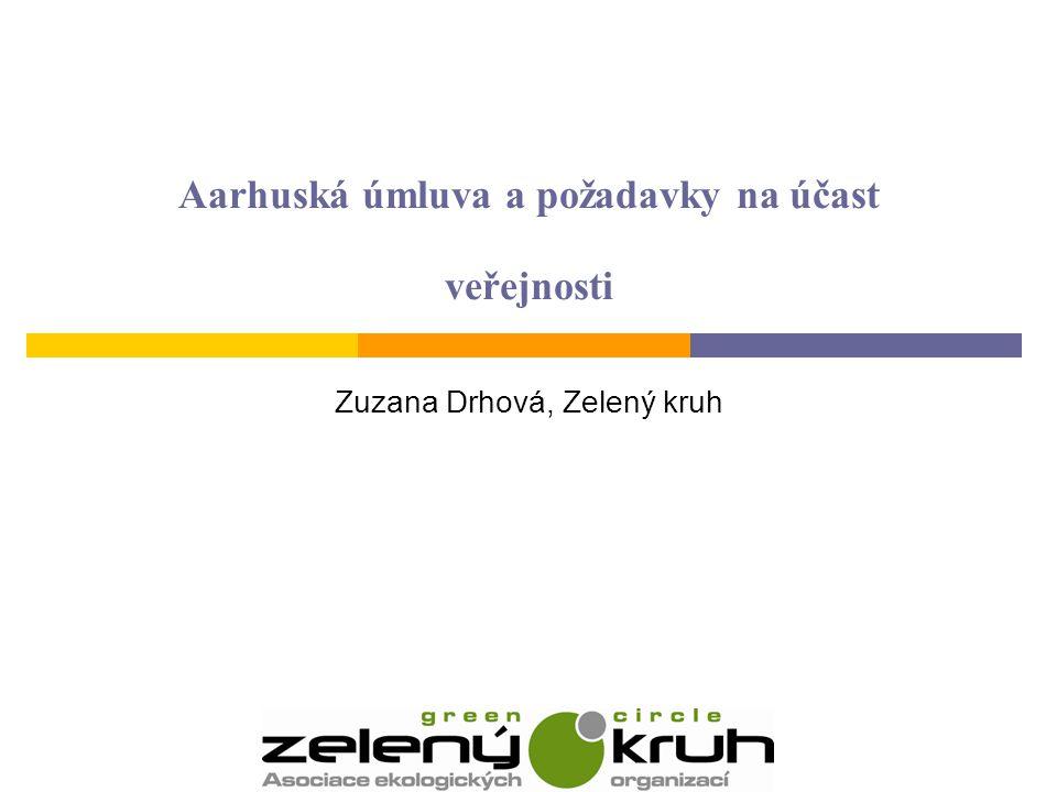Aarhuská úmluva a požadavky na účast veřejnosti Zuzana Drhová, Zelený kruh